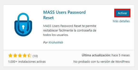 activar MASS User Password Reset en WordPress