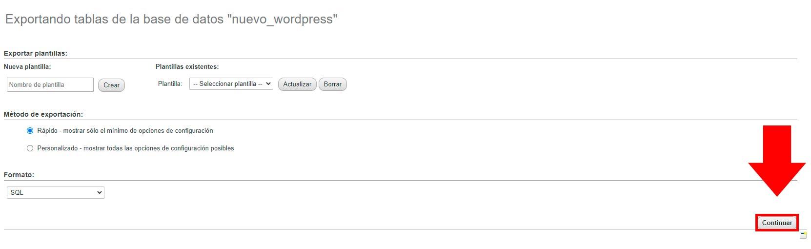 exportando tablas de base de datos wordpress