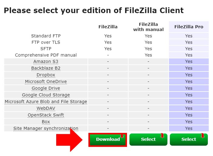versión gratuita de filezilla