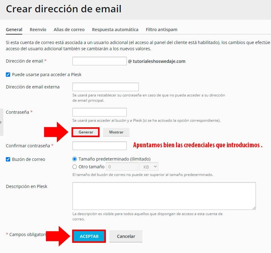 generar dirección de email