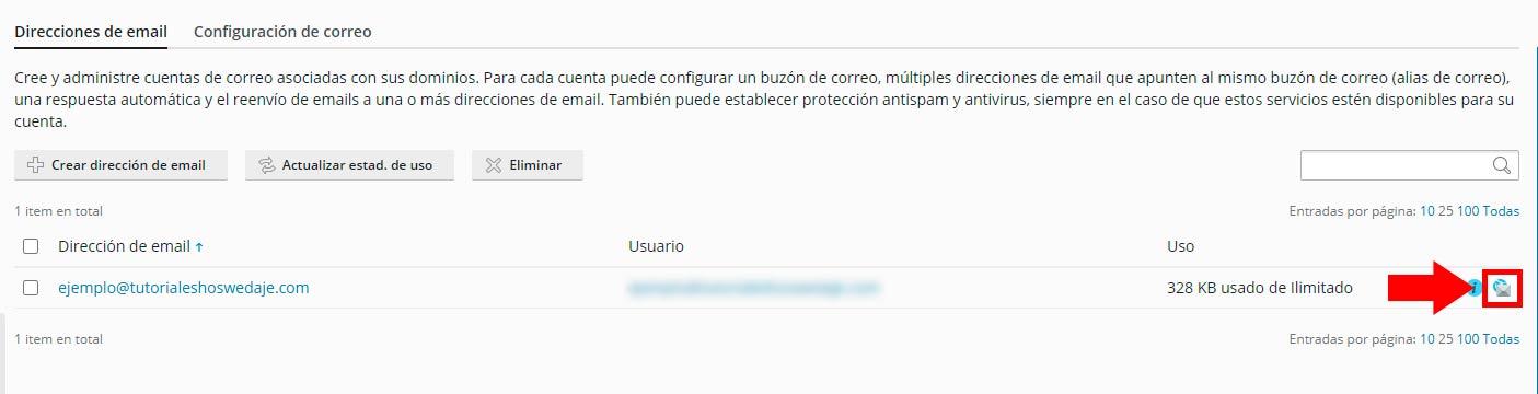 ejemplo de usuario en webmail