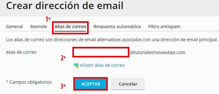 crear dirección de la cuenta de correo