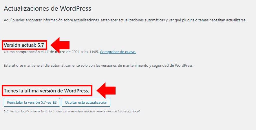 versiones de wordpress
