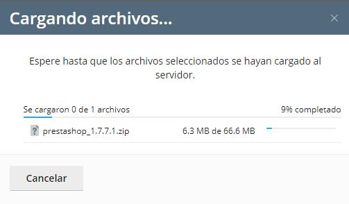 cargando los archivos de prestashop en plesk