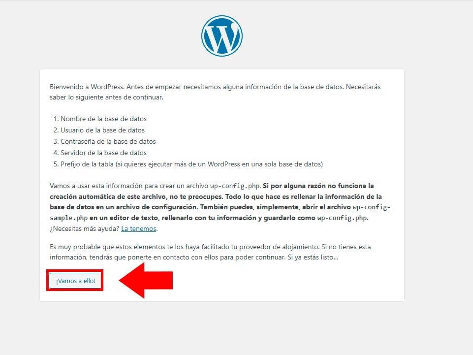 bienvenido a wordpress