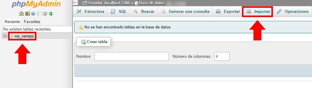 importar tabla de base de datos