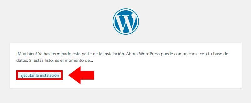 ejecutar instalación wordpress