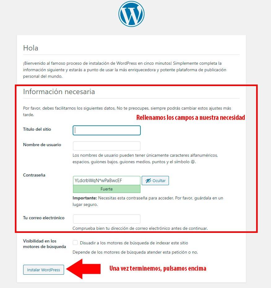información necesaria de wordpress