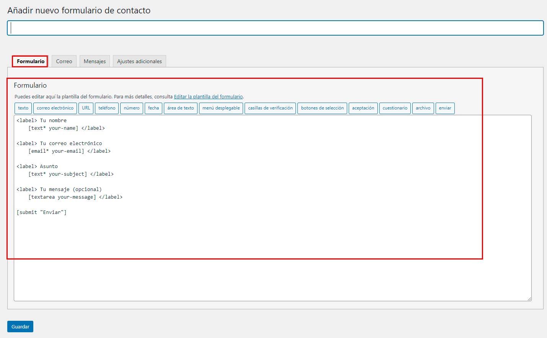 añadir formulario de contacto en wordpress