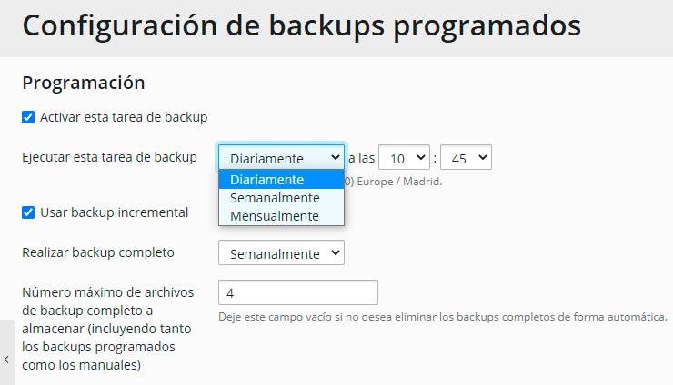 programar copias de seguridad automáticas