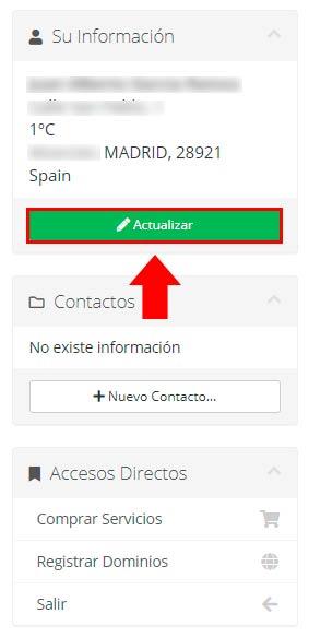 Modificar perfil de contacto
