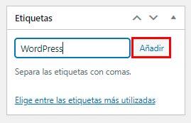 Etiquetas en WordPress