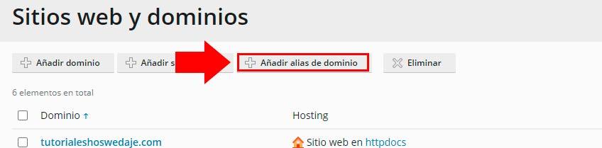 añadir alias de dominio