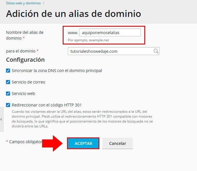 adición a alias de dominio