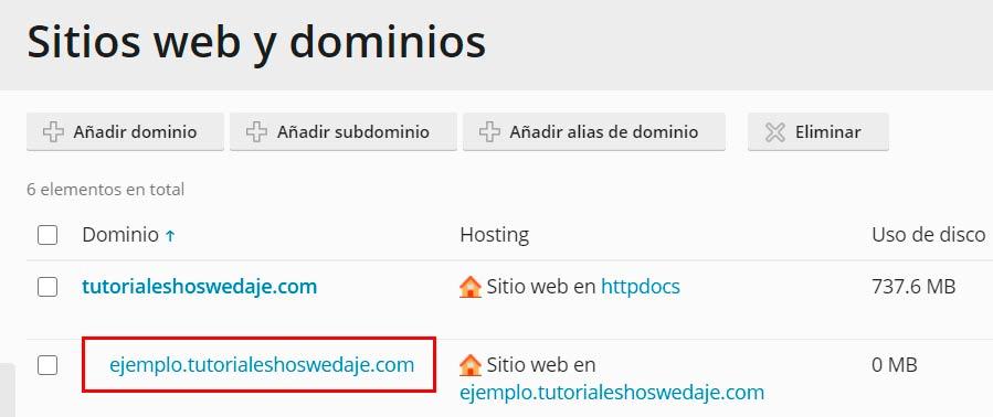 sitios web y dominios plesk