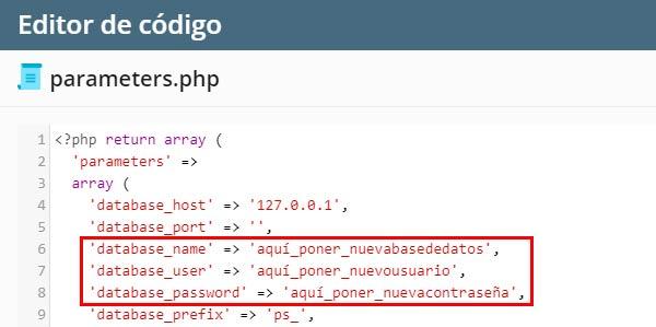 editor de código en prestashop