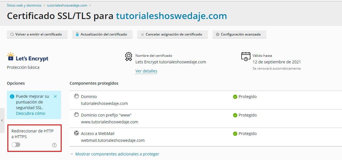 Certificado SSL en plesk