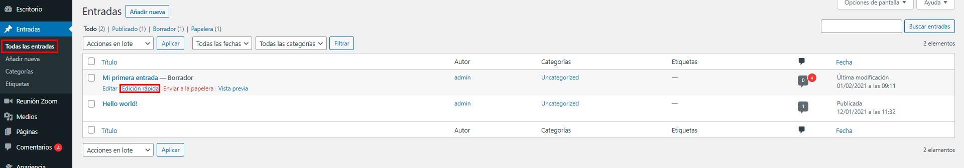 añadir categoría en wordpress
