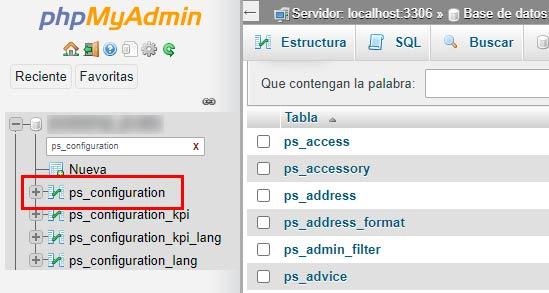 phpmyadmin configuración