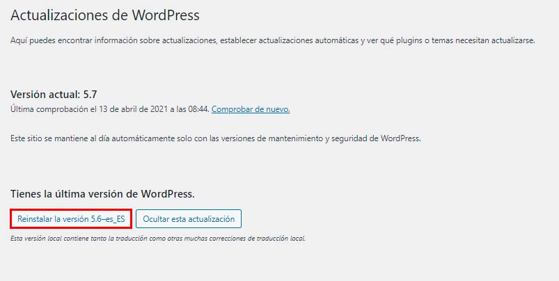 versión anterior de WordPress