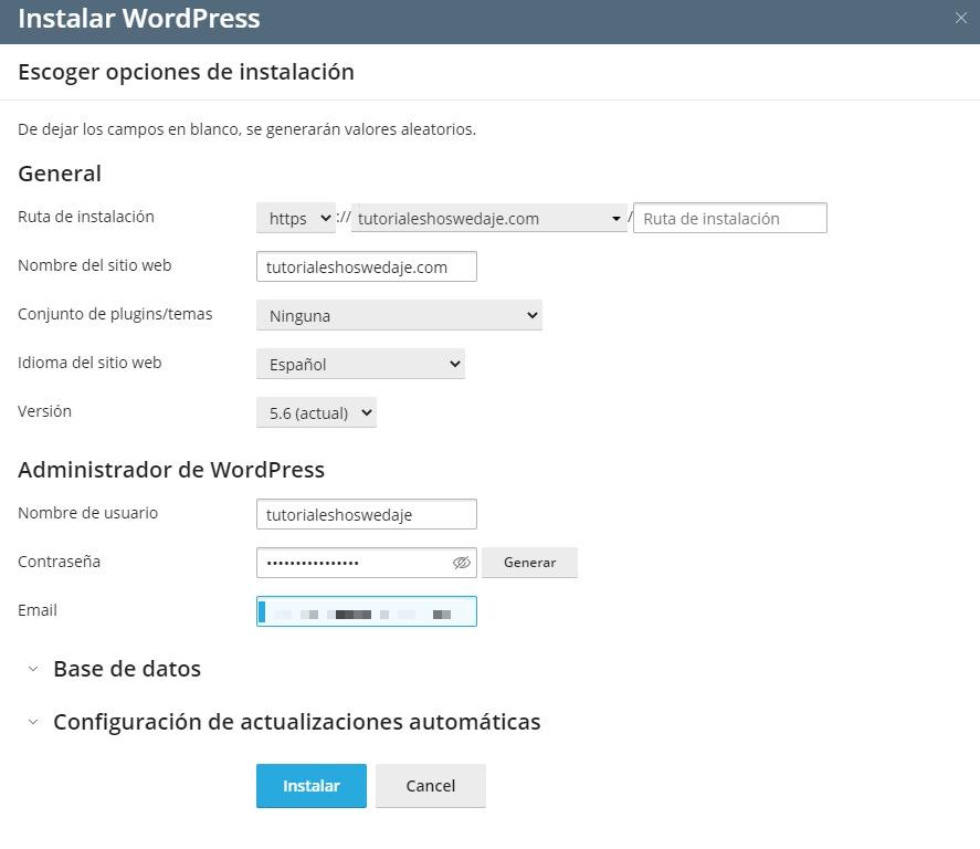 opciones de instalación de wordpress