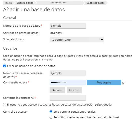 Panel de hosting - Base de datos