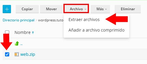 extraer archivos webzip