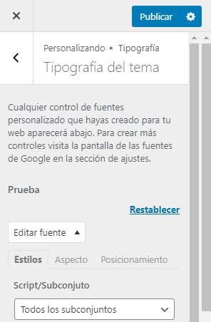 Configuracion Easy Google Fonts