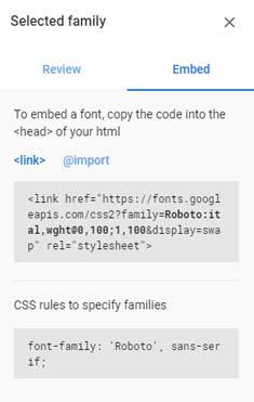 Insertar Google Font en head
