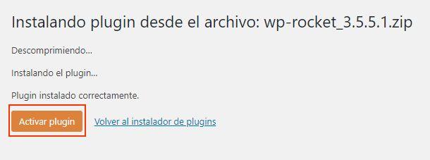 Activar plugin WP Rocket en WordPress